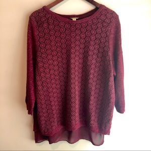 Lucky Brand Detailed Layered Sweater (Burgundy)